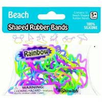 BEACH Shapes Rainbow Colors Rubber Band Bracelets Pk12