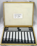 Premium 14 Piece Tuning Fork Set in Wood Box and Mallet A=426.6