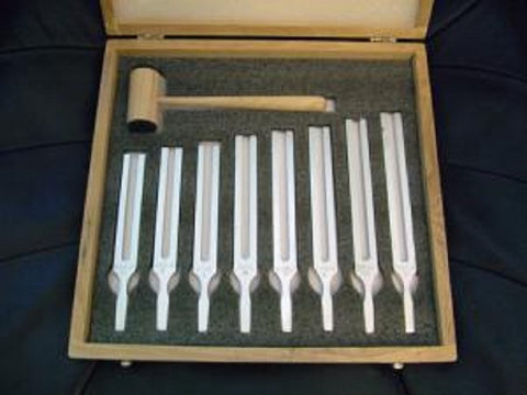 Tuning Fork Set Concert Pitch (Set of 8) Wooden Box