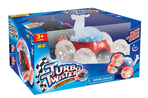 Turbo Twisters RC Stunt Car - Remote Controlled 27 MHz Red Vehicle