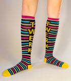 Twerk Socks - Blue, Pink, Grey, Black & Yellow Unisex Athletic Knee Socks