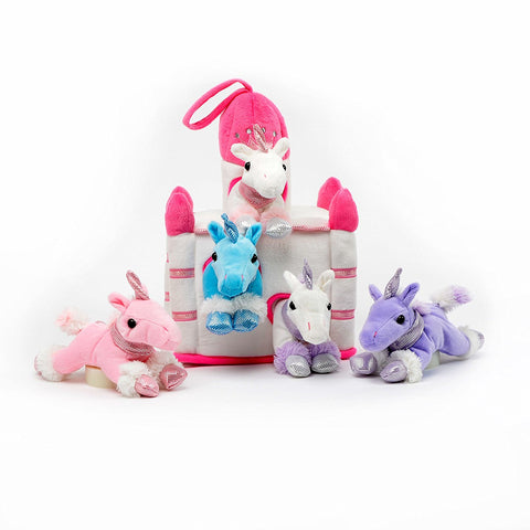 "Unicorn House - 11"" White Castle Carrying Case w/5 Plush Unicorns by Unipak Designs"