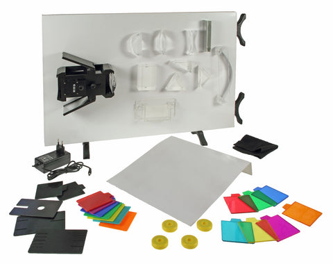 Whiteboard Optics Set - With Whiteboard, Lamp and 18 Instruments