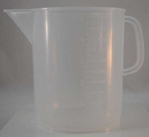 5000mL Polypropylene Pitcher Beaker, Short Form, 4 Pack (5 liter)