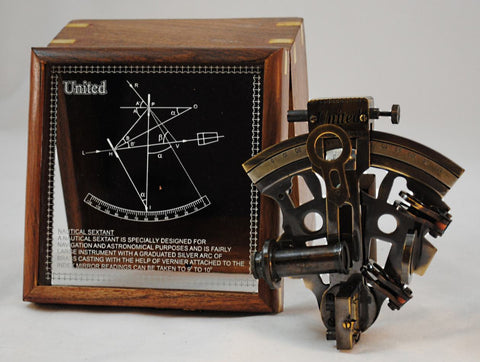 "Nautical Sextant Brass Navigational Tool-5"" x 4.5"" x 2.5"" in Nice Wooden Case"