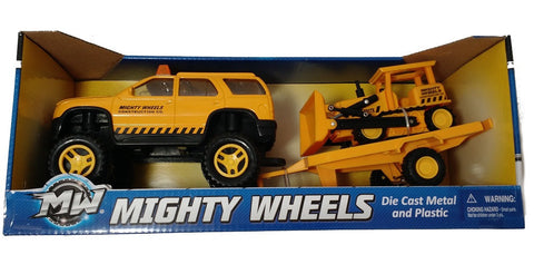 "Mighty Wheels  7"" Construction Utility & Bulldozer Trailer Vehicle"