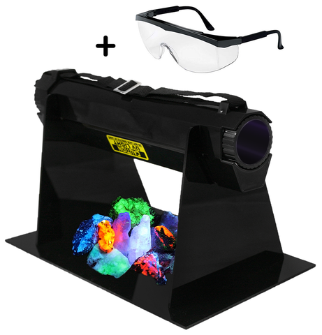 Shortwave & Longwave UV Set - 11 Watt UV Light, Light Stand, Pack of 10 Fluorescent Minerals, & Safety Glasses
