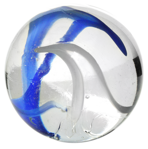 "Giant Iridized Glass ""Vapor"" Marble - 35mm - by House of Marbles w/Stand"