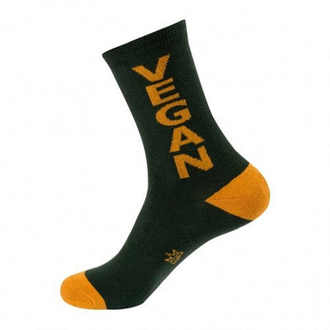 Vegan Socks - Evergreen and Gold Unisex Crew Socks