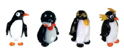 Looking Glass Torch Figurines - 4 Different Penguins (4-Pack)