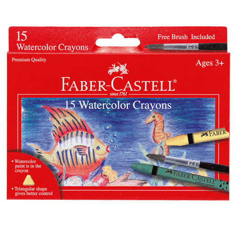 Kids Watercolor Crayons Set - Includes 15 Crayons and Paintbrush