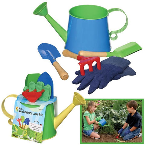 Metal Watering Can Garden Kit w Tools & Gloves