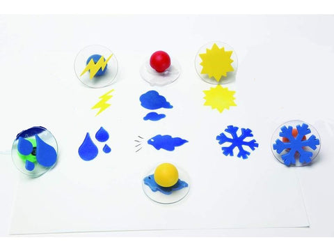 Set of 6 Weather Giant Rubber Stampers Wcase/ Rain, Cloud Etc.