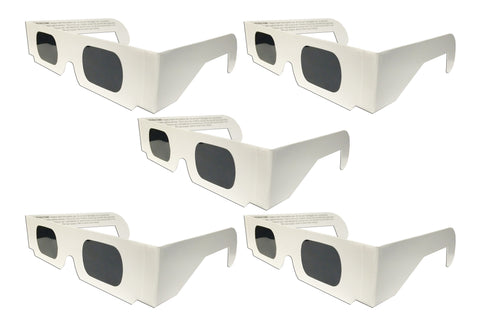 The Eclipser Safe Solar Eclipse Glasses CE Certified, w/White Frame - 5 Pack