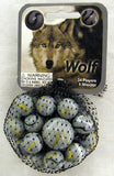 Wolf Game Net Set 25 Piece Glass Mega Marbles
