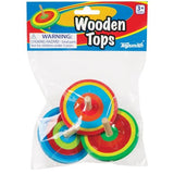 Toysmith Wooden Spinning Tops - Set of Three, Assorted Colors