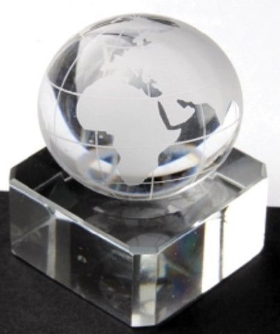 """World Map Earth"" Marble 30mm (1 Inch) w/Glass Display Stand"