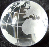 World Map Earth Marble 30mm (1 Inch) w Glass Display Stand