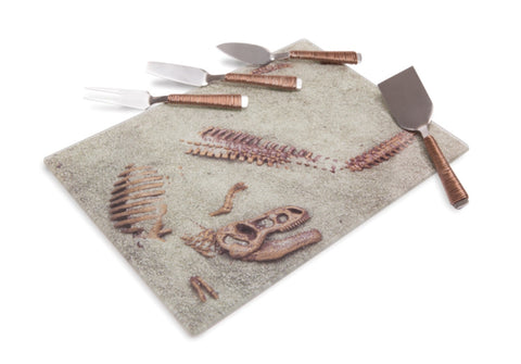Dinosaur Dig Site Glass Cheese Board Set - Prehistoric Platter with 4 Utensils