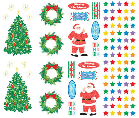 Mrs Grossman's Christmas Stickers, Set B - Stars, Trees, Wreath & Santa Says
