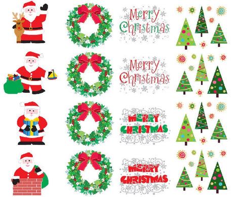 Mrs Grossman's Christmas Stickers, Set C - Tree, Wreath, Santa & Merry Christmas