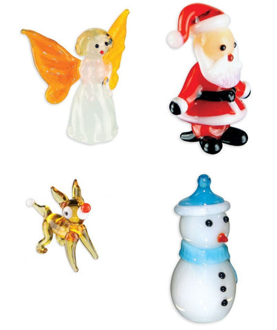 Looking Glass Torch Figurines - Set of 4 HOLIDAY Sculptures