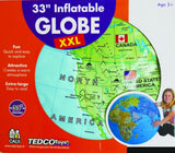 33 Inch Inflatable World Globe - Extra Large & Easy to Read