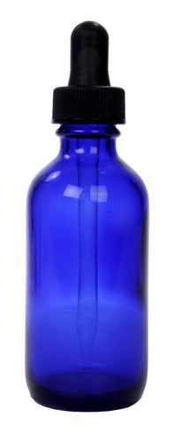 Cobalt Blue Glass Bottles w/dropper 2-oz: 12ct
