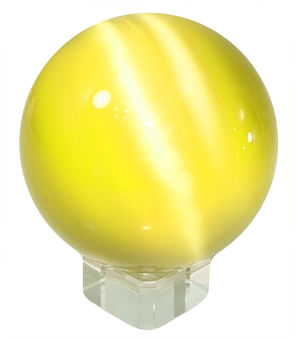 Yellow 50mm Cat's Eye Orb Gemstone Large Crystal Ball w Glass Stand