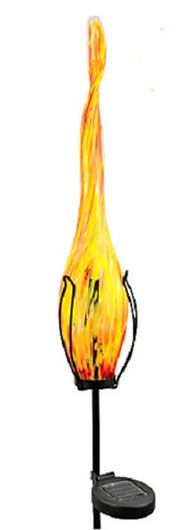 Solar Powered Light - Art Glass Garden Ornament - YELLOW