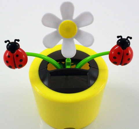 Solar Powered Dancing Daisy with Lady Bugs  - Yellow