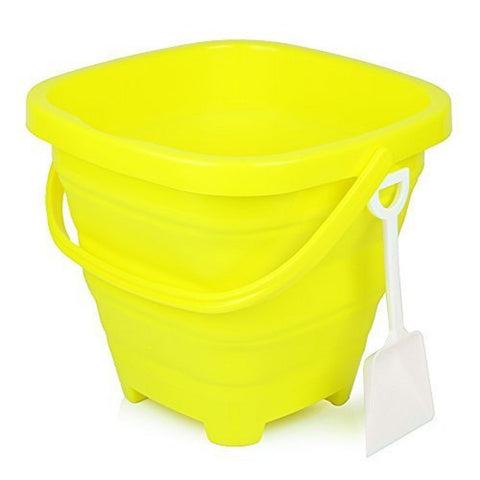 5 Liter Sunshine Yellow Collapsible Beach Bucket w/Shovel, by Packable Pails