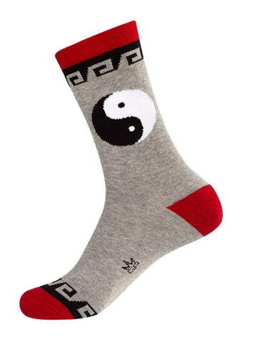 Yin Yang Socks - Grey, Red, Black and White Unisex Crew Socks