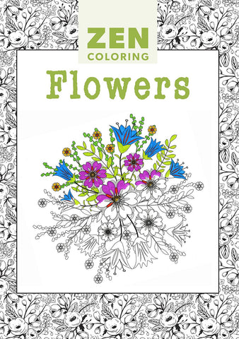 Zen Coloring Book - Flowers - Adult Art Activity