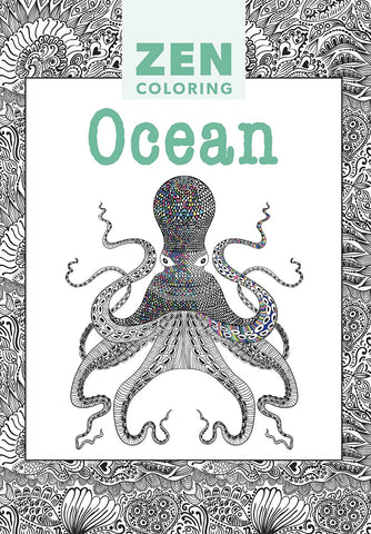 Zen Coloring Book - Ocean - Adult Art Activity