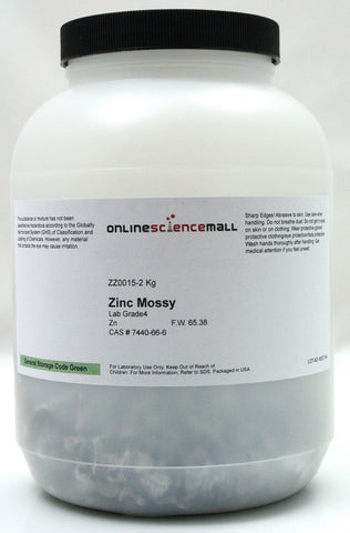 Zinc Elemental Metal, Mossy Flakes, 2kg (4.4 Pounds) - Lab Grade Chemical Reagent