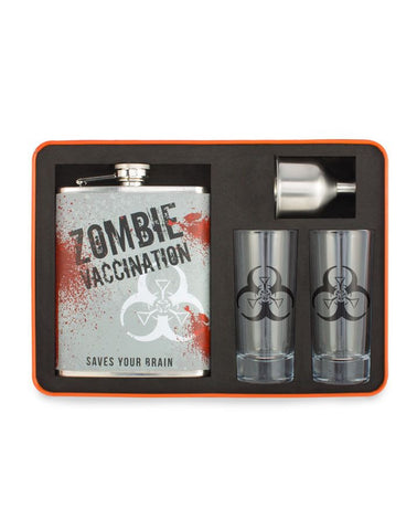 Zombie Survival Cocktail Bar Set with Flask, Shot Glasses & Travel Case