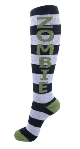 Zombie Socks - Kids Black and Grey Striped Unisex Knee Socks with Olive Green Letters