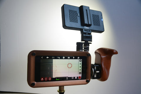 iPhone filmmaking rig with LED light and Wooden Camera handle - Helium Core