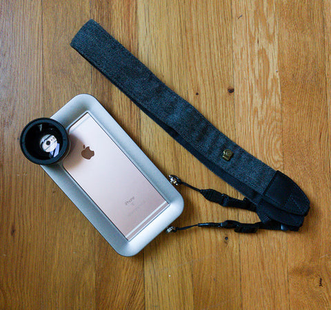 Lens strap can be used on Helium Core iPhone photo rig