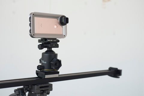 iPhone filming rig on slider using Helium Core and Moondog Labs anamorphic adapter