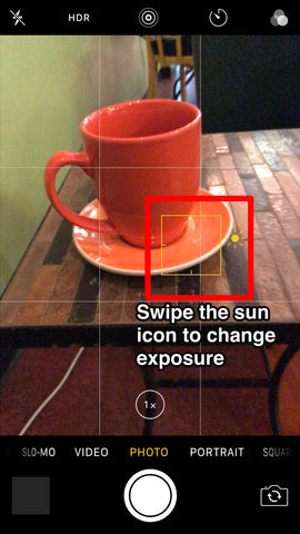 iPhone screen shot showing exposure settings on native photo app