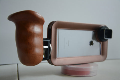 iPhone video rig with Wooden camera handle and Moondog Labs anamorphic adapter - Helium Core