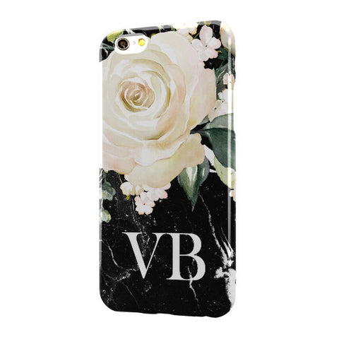 Black Marble Floral Large Bottom