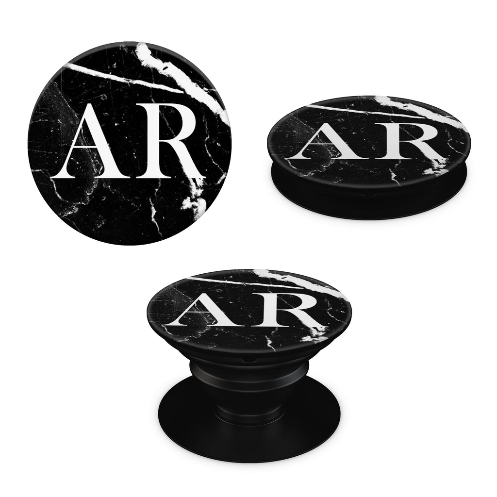 Black Marble Large Initials Pop Grip