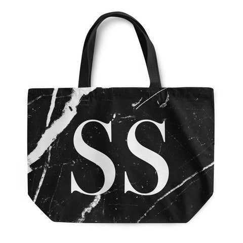Black Marble Large Initials Tote