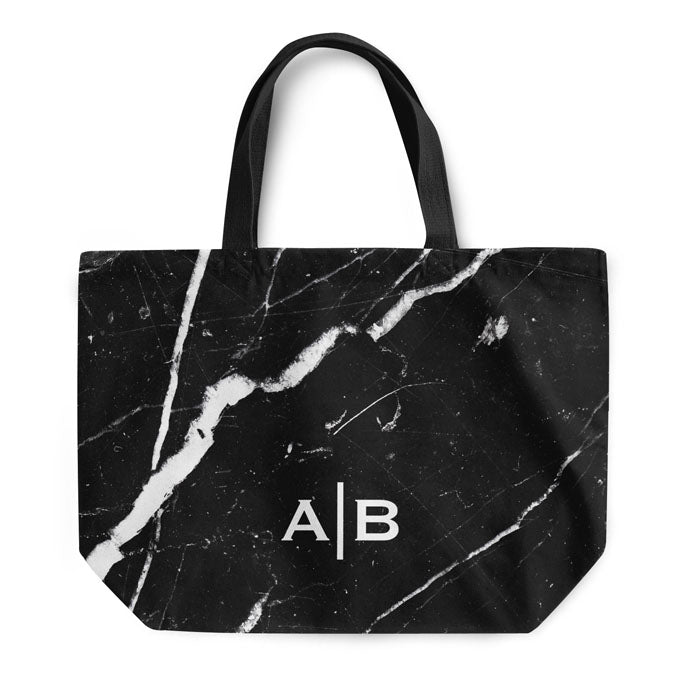 Black Marble Small Initials Tote