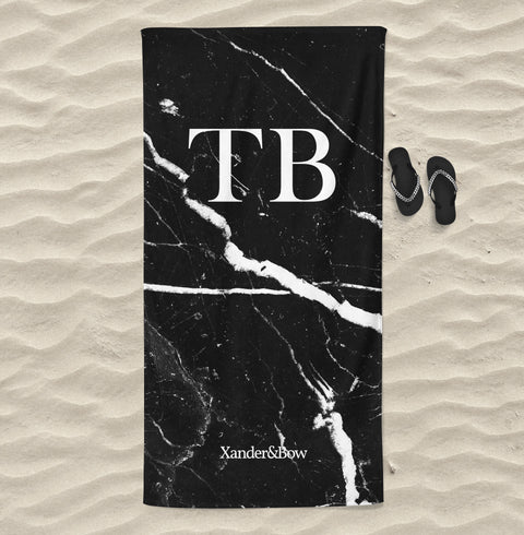 Black Marble Monogrammed Beach Towel