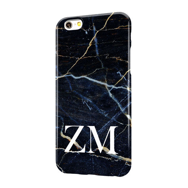 Black Blue Gold Marble Large Bottom