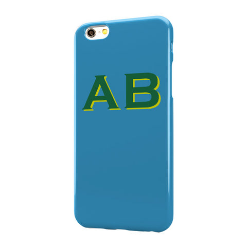 Cyan Case with Green Yellow Top Initials